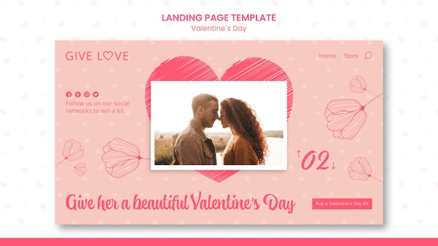 Page de destination pour la saint-valentin avec photo de couple