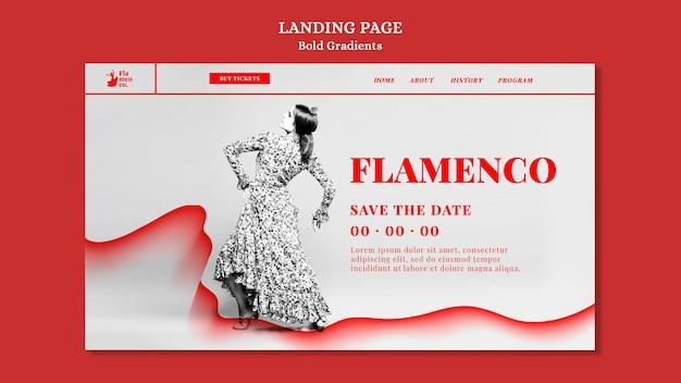 Page de destination pour un spectacle de flamenco avec une danseuse