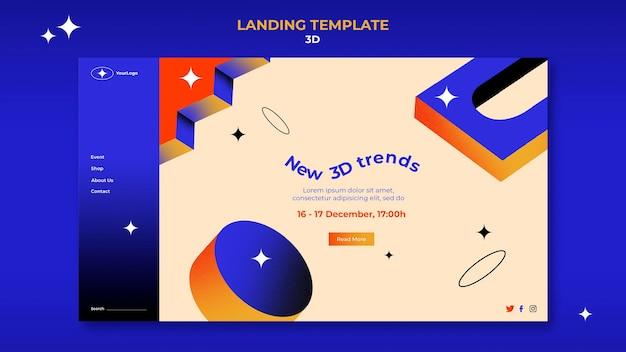 Page de destination pour les tendances 3d