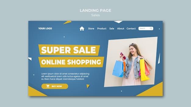Page de destination pour la vente au détail