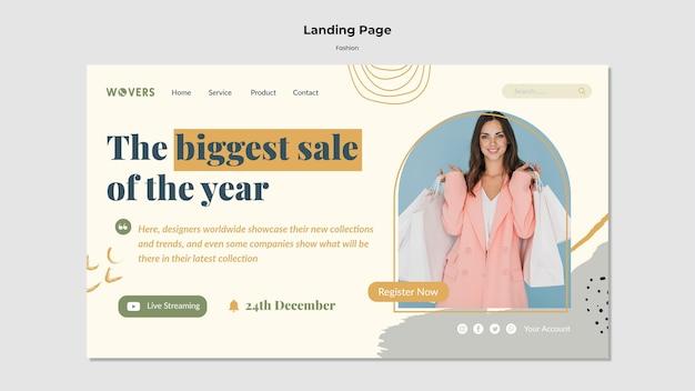Page de destination pour les ventes de mode