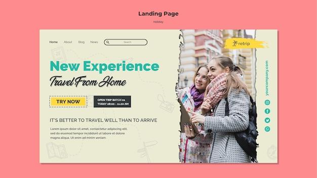 Page de destination pour un voyage de vacances en réalité virtuelle