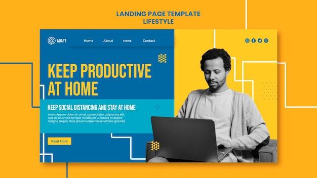 Page de destination productive à la maison