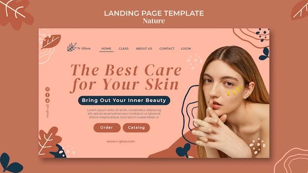 Page de destination des produits de soins naturels de la peau