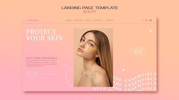 Page de destination des produits de soins de la peau