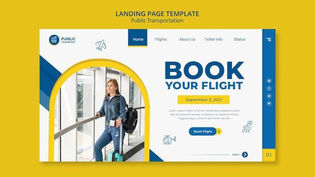 Page de destination de la réservation de vol
