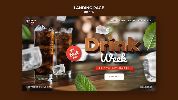 Page de destination de la semaine de boisson