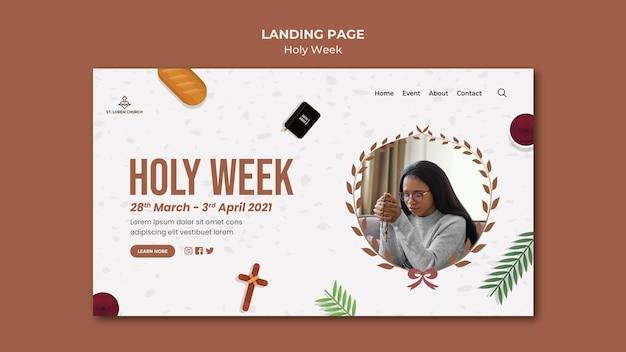 Page de destination de la semaine sainte avec photo