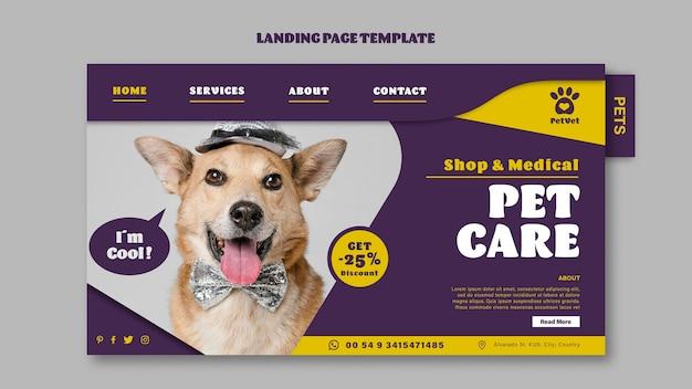 Page de destination des soins médicaux pour animaux de compagnie