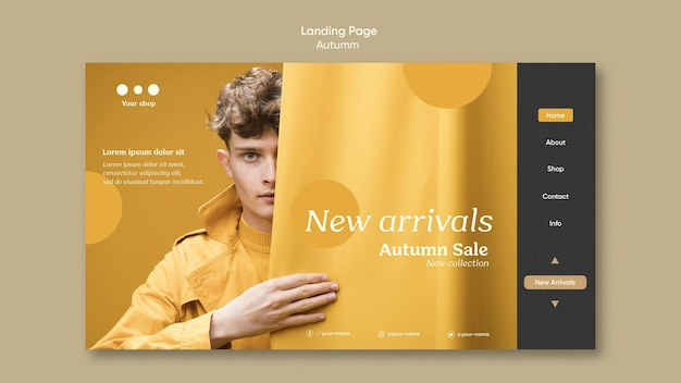 Page de destination des soldes d'automne