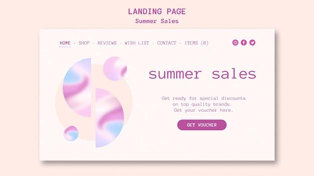 Page de destination des soldes d'été
