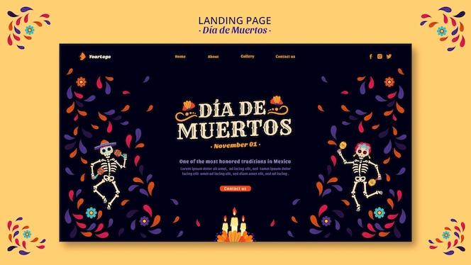 Page de destination des squelettes et confettis dia de muertos