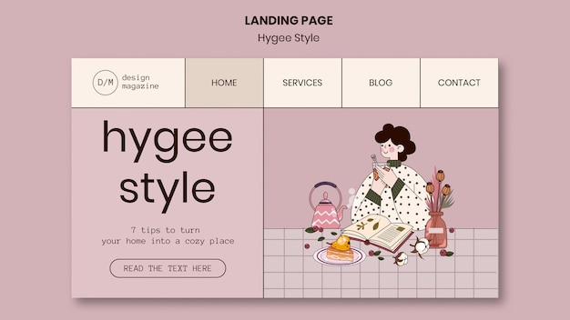 Page de destination de style hygge