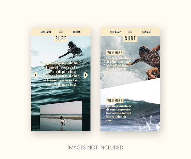 Page de destination de surf pour mobile