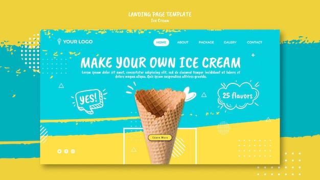 Page de destination avec le thème de la crème glacée