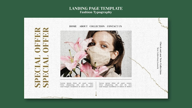 Page de destination de la typographie de la mode
