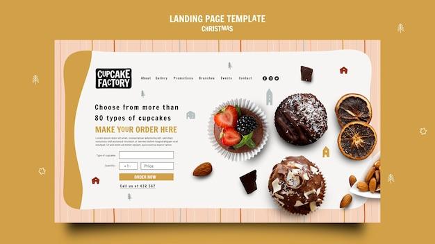 Page de destination de l'usine de cupcakes de noël