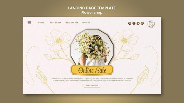 Page de destination de la vente en ligne du magasin de fleurs