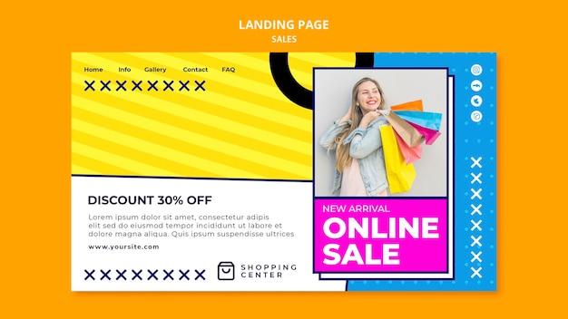 Page de destination de vente en ligne avec remise