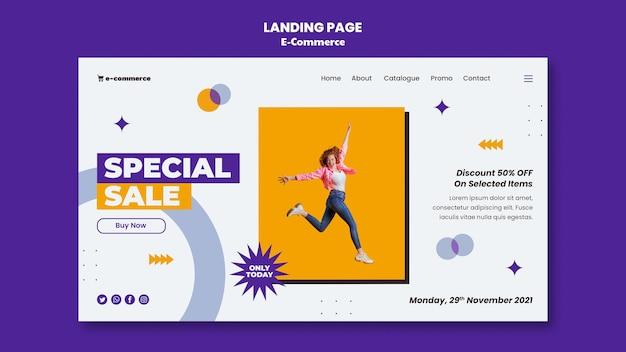 Page de destination de vente spéciale de commerce électronique