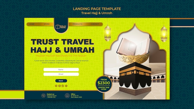 Page de destination de voyage hajj et omra