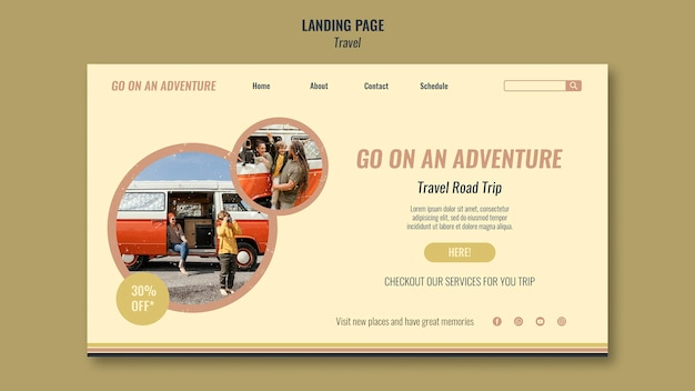 Page de destination web de voyage sur la route