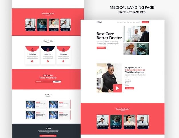 Page du site web du modèle de page de destination pharmaceutique et médicale