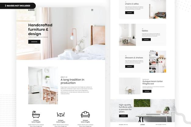 Page du site web de meubles artisanaux