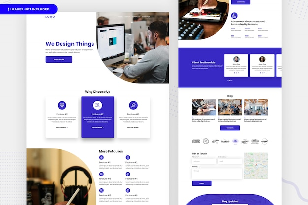 Page du site web de la société de conception