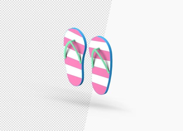 Paire de pantoufles de plage de rendu 3d de flip flop concept d'été