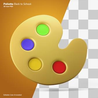 Palette de couleurs de peinture icône de rendu 3d couleur modifiable psd isolé