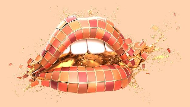 Palette de rouge à lèvres en forme de bouche avec des éclaboussures d'eau.