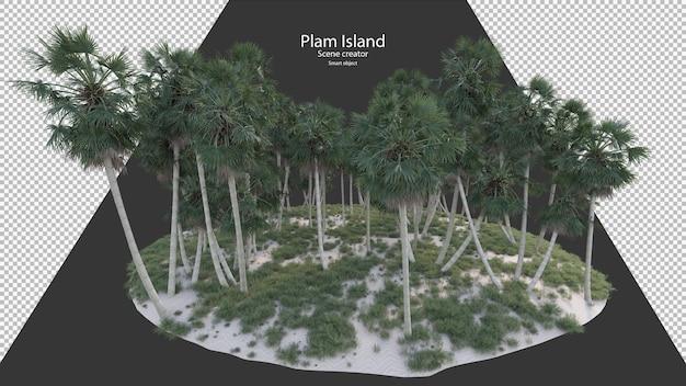 Palm island palm sable et herbe rendu isolé