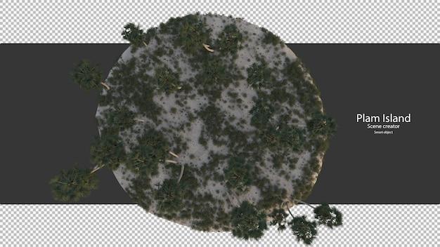Palmier île vue de dessus rendu isolé