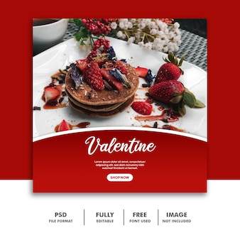 Pancake strawberry template social media valentine