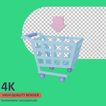 Panier 3d vente icône illustration rendu de haute qualité