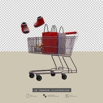 Panier d'achat avec des chaussures et une boîte-cadeau d'arc d'or illustration 3d