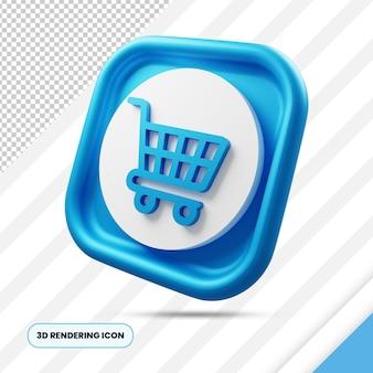 Panier d'achat icône de rendu 3d png