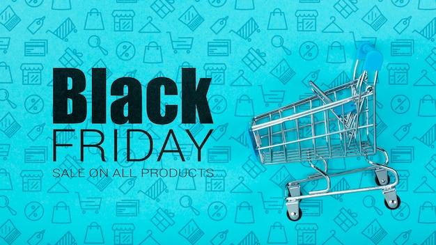 Panier d'achat représentatif du vendredi noir