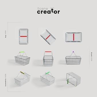 Panier d'achat sous différents angles pour des illustrations de créateurs de scènes