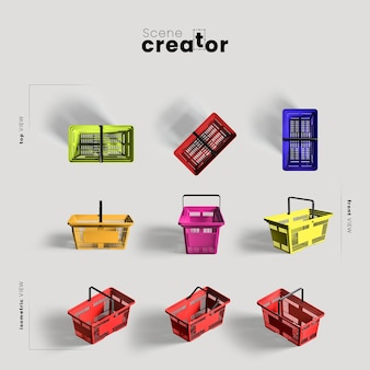 Panier d'achats coloré sous différents angles pour des illustrations de créateur de scène