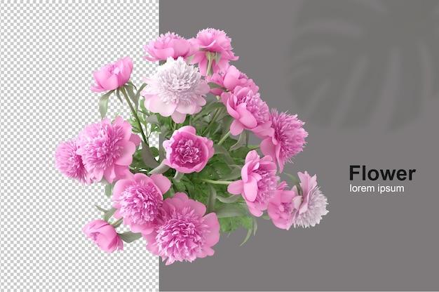 Panier de fleurs en rendu 3d