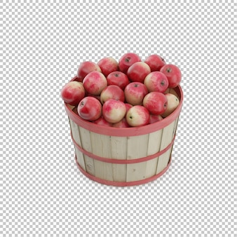 Panier isométrique avec des pommes
