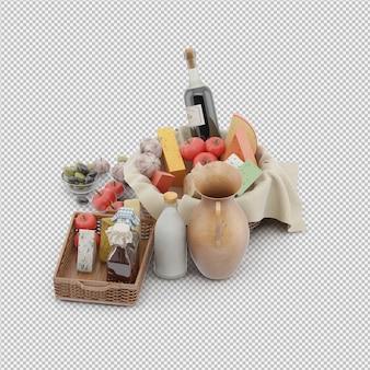 Panier pique-nique avec rendu 3d alimentaire