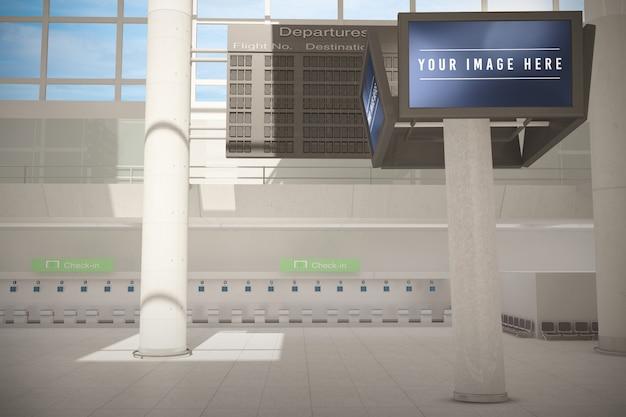 Panneau d'affichage dans la maquette de l'aéroport