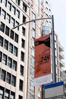 Panneau d'affichage dans la maquette de la ville