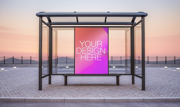 Panneau d'affichage sur la maquette de kiosque d'arrêt de bus rendu 3d