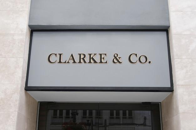 Panneau avant de façade moderne de maquette de logo 3d
