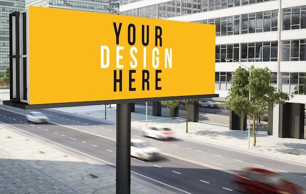 Panneau publicitaire dans la maquette du centre-ville de la ville