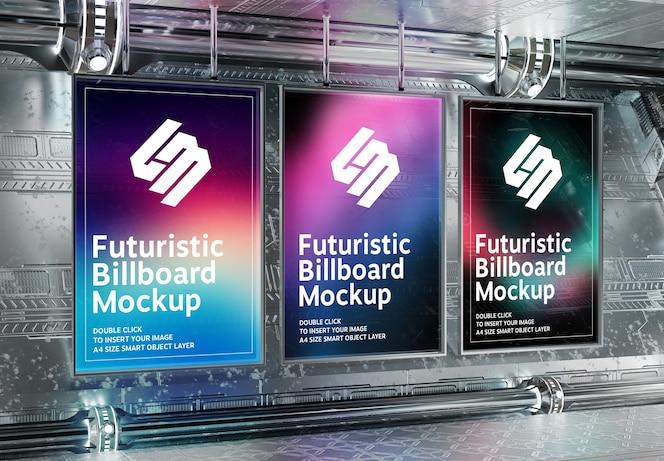 Panneaux d'affichage verticaux dans une maquette souterraine futuriste